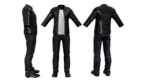 Mens Leather Jacket Outfit 3D