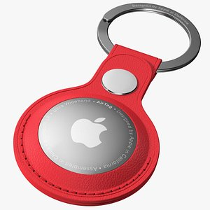 3D Apple AirTag Leather Key Ring Red model