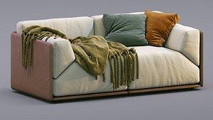 Meridiani Leather Sofa Bacon 3D