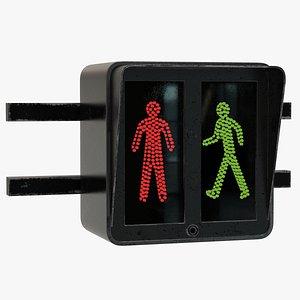 3D European Traffic Light Walk Stop
