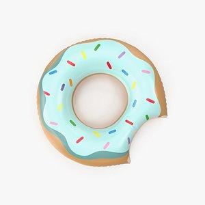 3D Giant Light Blue Top Donut Pool Float
