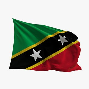 3D Realistic Animated Flag - Microtexture Rigged - Put your own texture - Def Saint Kitts and Nevis