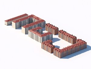 Residential complex with multi-storey city buildings 3d model 3D model