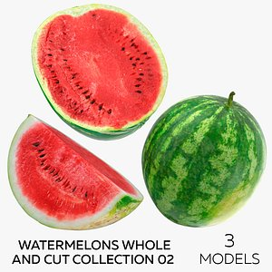 3D Watermelons Whole and Cut Collection 02 - 3 models
