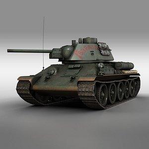 T-34-76 Model 1943 Soviet medium tank Guards 3D model