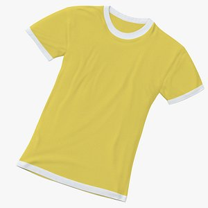 Female Crew Neck Laying White and Yellow 01 3D model