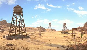 3D model Water Tanks Desert Environment.