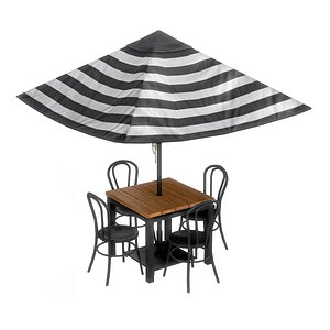 Cafe Table Chairs 10 3D model