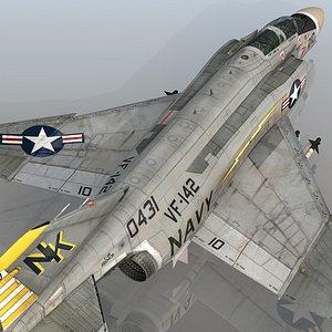 3D model F4 BN Phantom II Ghostriders VF-142 USS Constellation