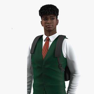 3D Black Teenager Dark Skin School Uniform Rigged for Maya model