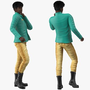 3D Dark Skin Teenager Fashionable Style Rigged for Modo