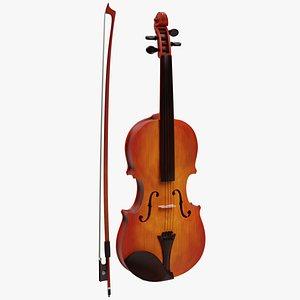 3D model Violin with procedural material