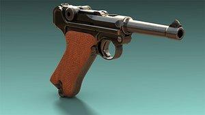 low-poly luger p08 pistol 3D model