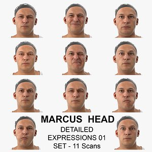 Marcus Real Head Detailed Expressions 01 Set 11 Clean Scans Collection 3D model