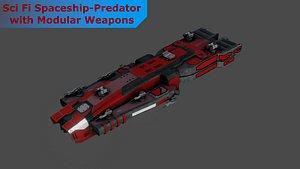 Sci-Fi Predator Space Ship - LowPoly - PBR - GameReady 3D