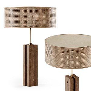 wooden rattan table 3D model