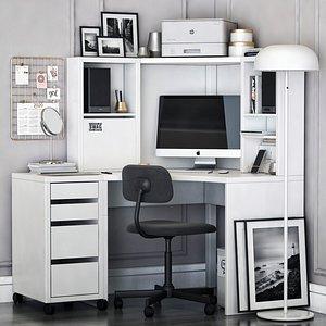 3D IKEA MICKE corner workplace model