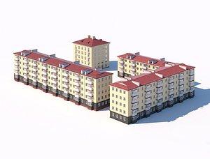 Five-story residential city building 3d model model
