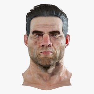 3D David Realistic model of male head