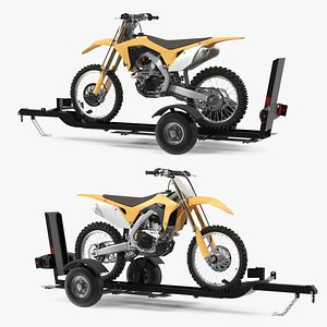 3D Motorcycle Trailer with Motorbike
