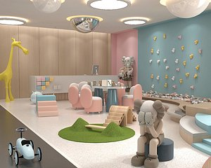 3D Kindergarten, Kindergarten, Classroom, Early Education Center, Kindergarten, Library, Multimedia Roo model