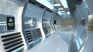 Clean SciFi Backdrop - Scenery Full Perm Spaceship Interior 3D