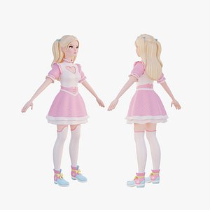 Stylized girl in pink costume model
