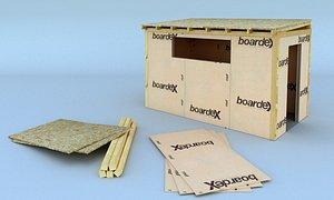 Wooden Shack Realistic Design 3D