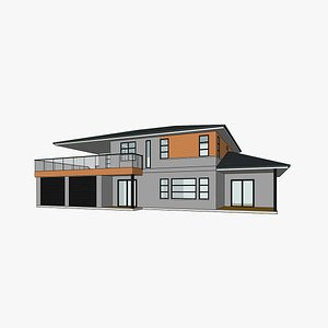 3D modern american house architecture model