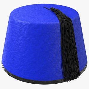 3D traditional arabic blue fez