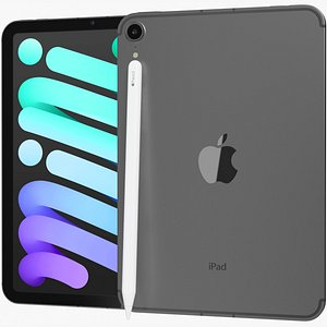 3D model Apple iPad mini 2021 6th gen WiFi and Cellular with Pencil Gray