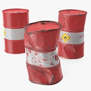 crude oil barrels set 3D model