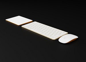 Apple Magic Trackpad Mouse and Keyboard in Official Colors 3D model