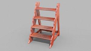 3D model Antique Library Steps