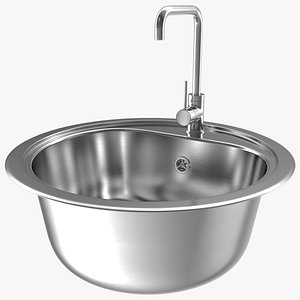 3D Round Single Kitchen Sink with Tap model
