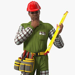 3D Light Skinned Black Builder Standing Pose