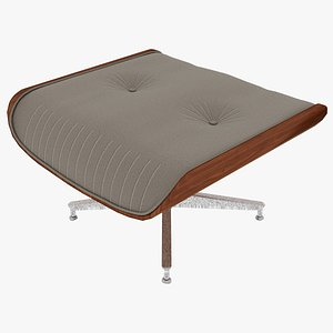eames ottoman fabric wooden 3D model