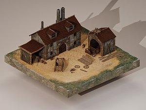 Medieval Cart Workshop 3D model