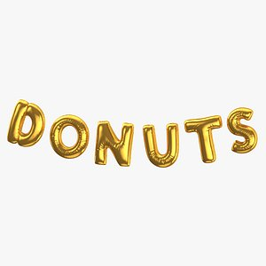3D Foil Baloon Words Donuts Gold model
