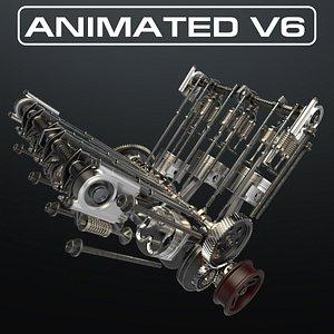 3D V6 Engine Working Animated