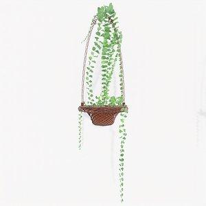 Stylized Dry Flower Pot Arrange1 3D