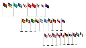 3D Flags of different countries 30 items