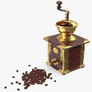 3D vintage coffee grinder beans model