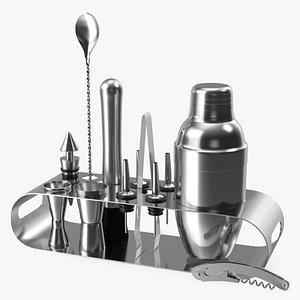 Bartender Kit 12 Piece Stainless Steel 3D