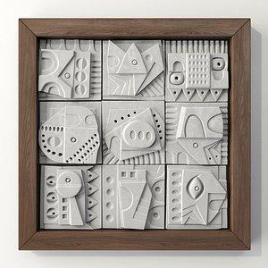 Panel decorative cube  square n1 3D model