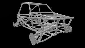 3D model buggy frame suspension