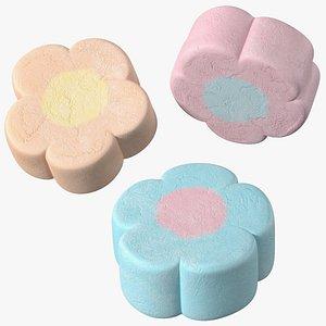shaped marshmallows flower 3D model