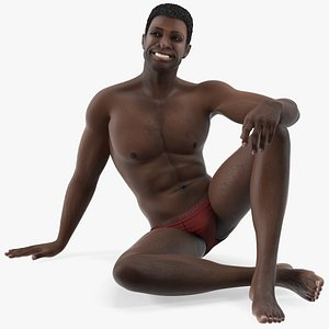 african american man sitting 3D model