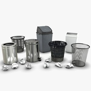 3D Trash bin and crumpled paper collection LowPoly PBR