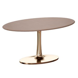 Nero Oval Concrete Dining Table with Brass Base model